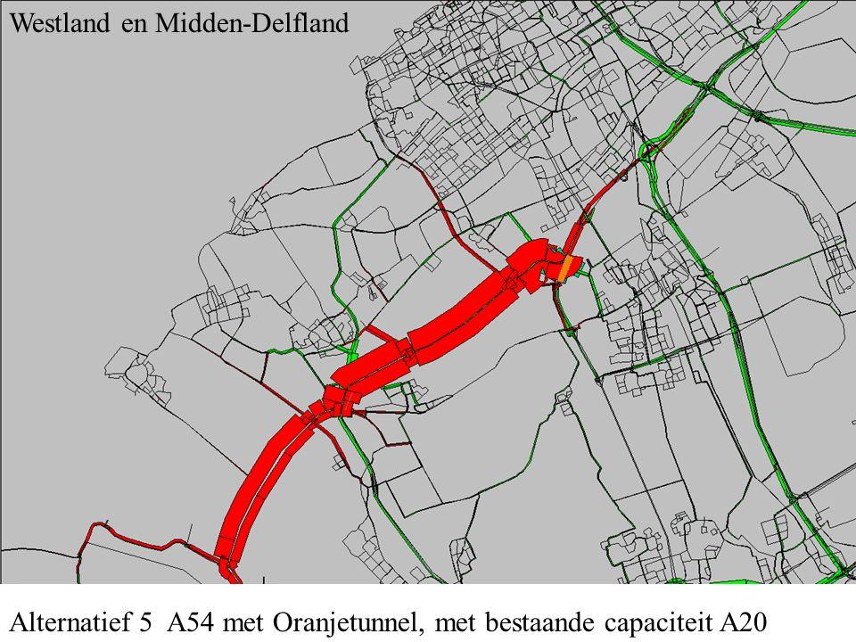 Alternatief 5 A54 met Oranjetunnel, met bestaande capaciteit A20 Midden-Delfland en B-driehoek