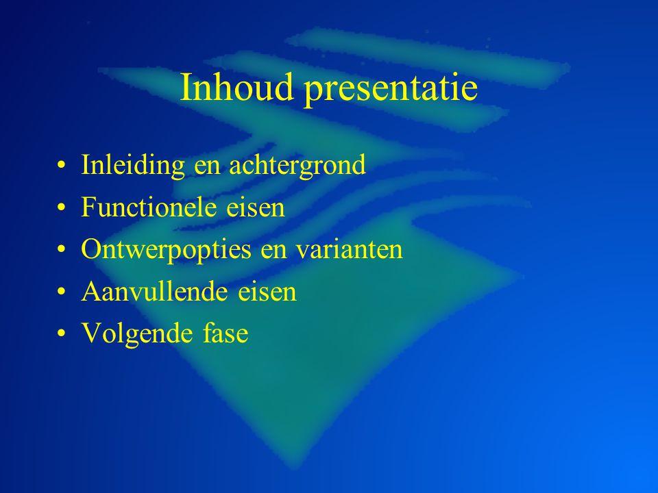 Achtergrond project Broeikaseffect leidt tot klimaatwijziging Hogere rivierafvoeren en zeespiegelstijging Peil IJsselmeer dreigt te stijgen Overlast en onveilige situaties Iets doen voor 2012
