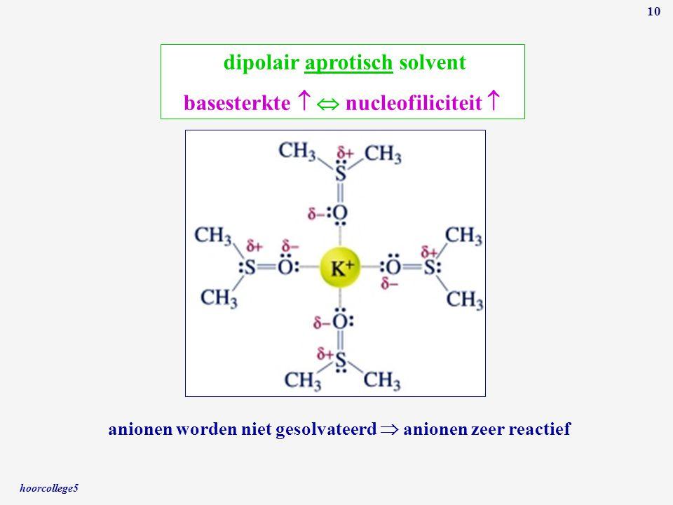 hoorcollege5 10 dipolair aprotisch solvent basesterkte   nucleofiliciteit  anionen worden niet gesolvateerd  anionen zeer reactief