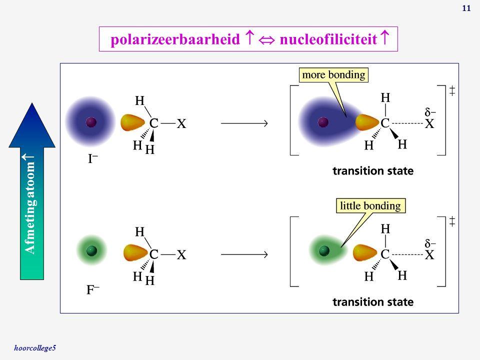 hoorcollege5 11 Afmeting atoom  polarizeerbaarheid   nucleofiliciteit 