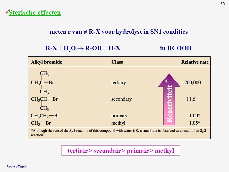 hoorcollege5 20 Sterische effecten R-X + H 2 O  R-OH + H-Xin HCOOH meten r van  R-X voor hydrolyse in SN1 condities Reactiviteit  tertiair > secund