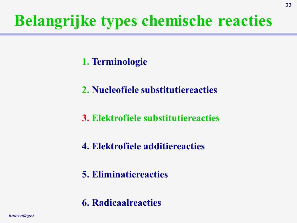 hoorcollege5 33 Belangrijke types chemische reacties 1. Terminologie 2. Nucleofiele substitutiereacties 3. Elektrofiele substitutiereacties 4. Elektro