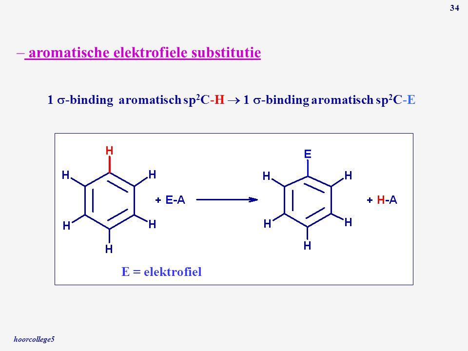 hoorcollege5 34 – aromatische elektrofiele substitutie 1  -binding aromatisch sp 2 C-H  1  -binding aromatisch sp 2 C-E E = elektrofiel