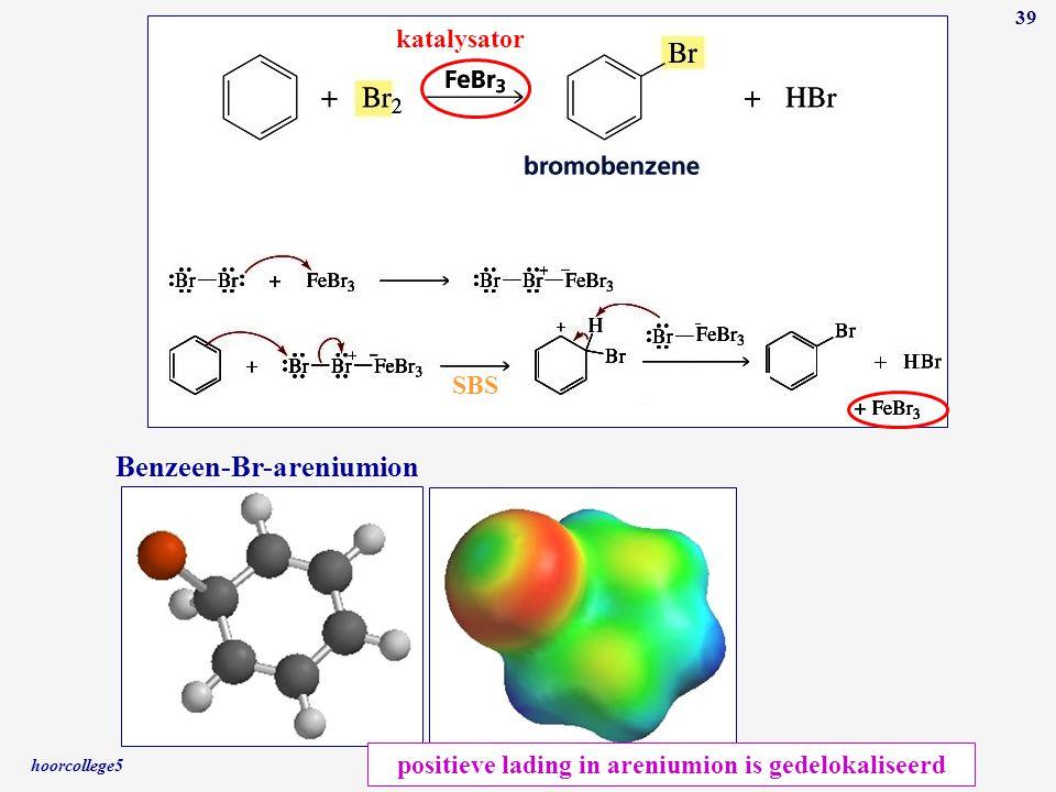 hoorcollege5 39 katalysator SBS Benzeen-Br-areniumion positieve lading in areniumion is gedelokaliseerd