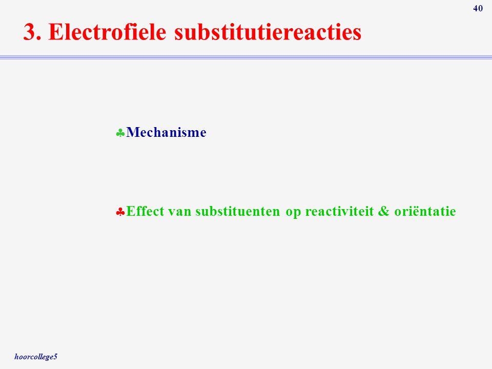 hoorcollege5 40 3. Electrofiele substitutiereacties  Mechanisme  Effect van substituenten op reactiviteit & oriëntatie