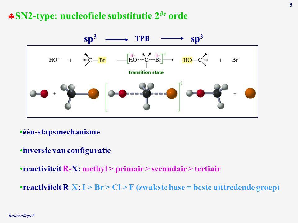 hoorcollege5 5 sp 3 TPB sp 3  SN2-type: nucleofiele substitutie 2 de orde één-stapsmechanisme inversie van configuratie reactiviteit R-X: methyl > pr