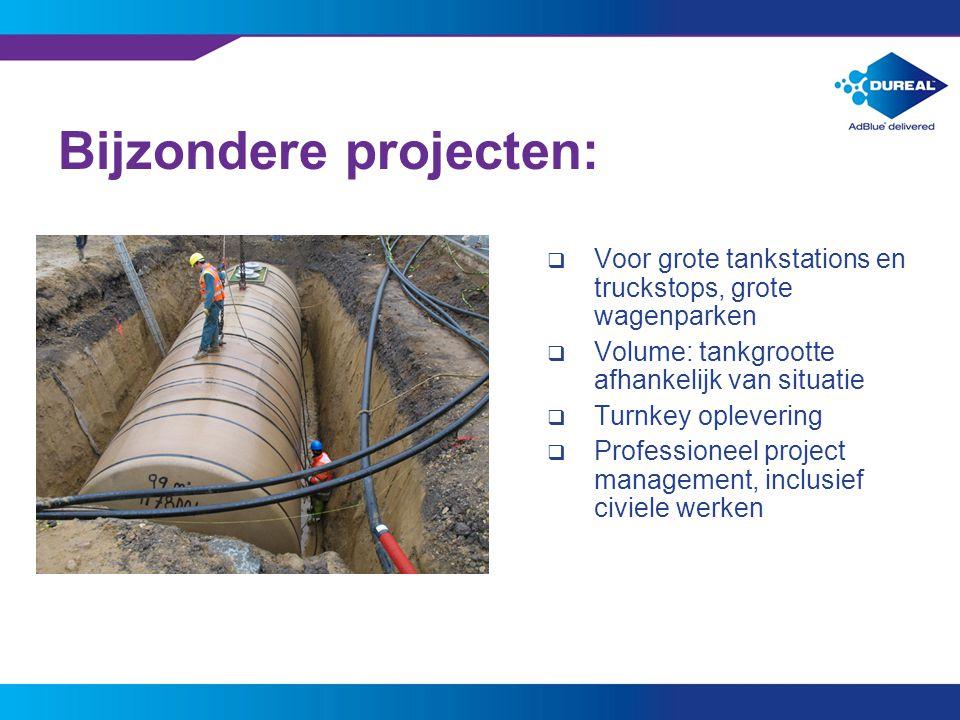 12 Bijzondere projecten:  Voor grote tankstations en truckstops, grote wagenparken  Volume: tankgrootte afhankelijk van situatie  Turnkey opleverin