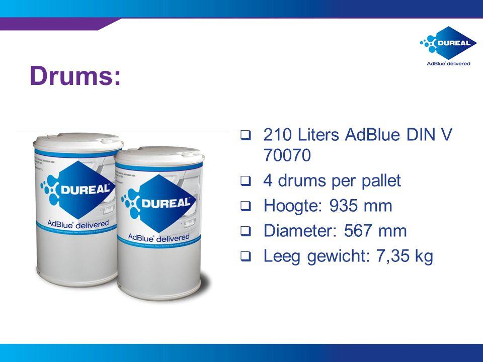 8 Drums:  210 Liters AdBlue DIN V 70070  4 drums per pallet  Hoogte: 935 mm  Diameter: 567 mm  Leeg gewicht: 7,35 kg