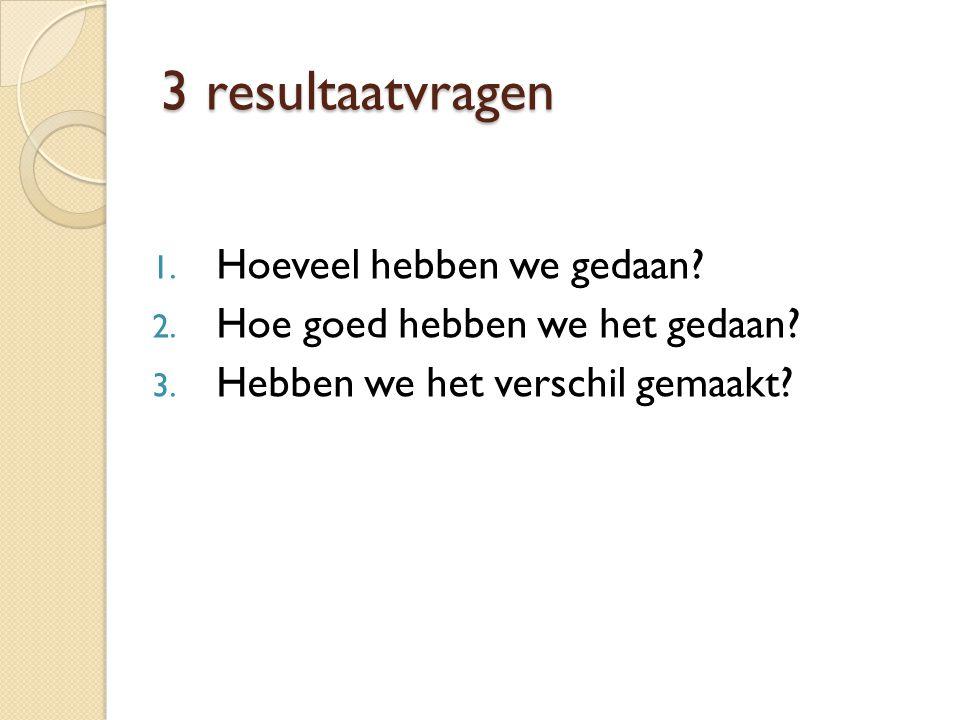 3 resultaatvragen 1. Hoeveel hebben we gedaan? 2. Hoe goed hebben we het gedaan? 3. Hebben we het verschil gemaakt?