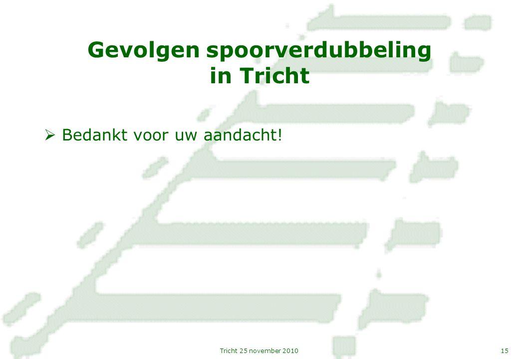 15Tricht 25 november 2010 Gevolgen spoorverdubbeling in Tricht  Bedankt voor uw aandacht!