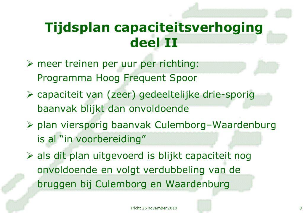 8Tricht 25 november 2010 Tijdsplan capaciteitsverhoging deel II  meer treinen per uur per richting: Programma Hoog Frequent Spoor  capaciteit van (z
