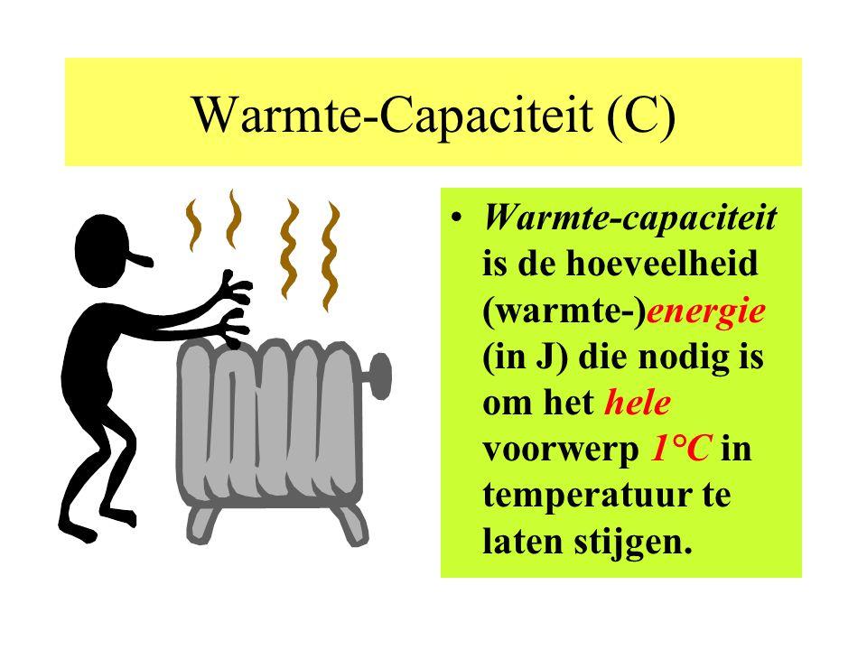 In formule; (zie ook BB(10)) Q = m. c.  T Energie ( warmte ) in Joules Massa in g Soortelijke warmte in J/g.°C Temperatuurs verschil in °C