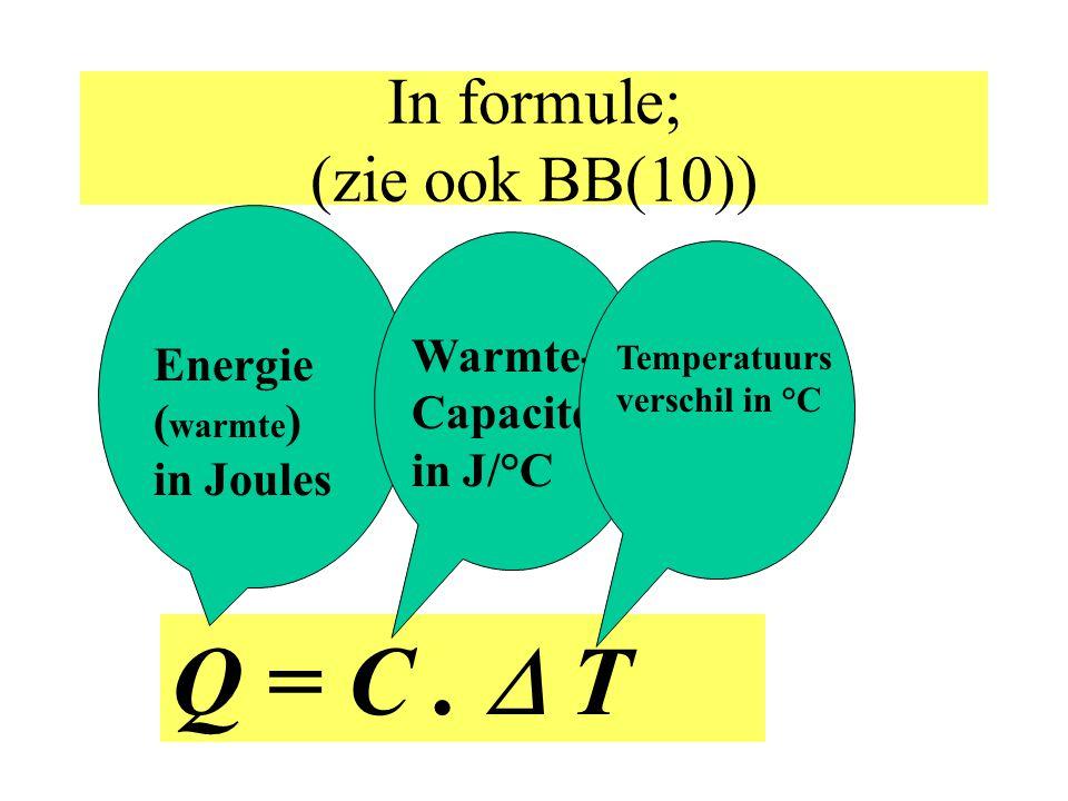 Warmte-Capaciteit (C) Warmte-capaciteit is de hoeveelheid (warmte-)energie (in J) die nodig is om het hele voorwerp 1°C in temperatuur te laten stijgen.