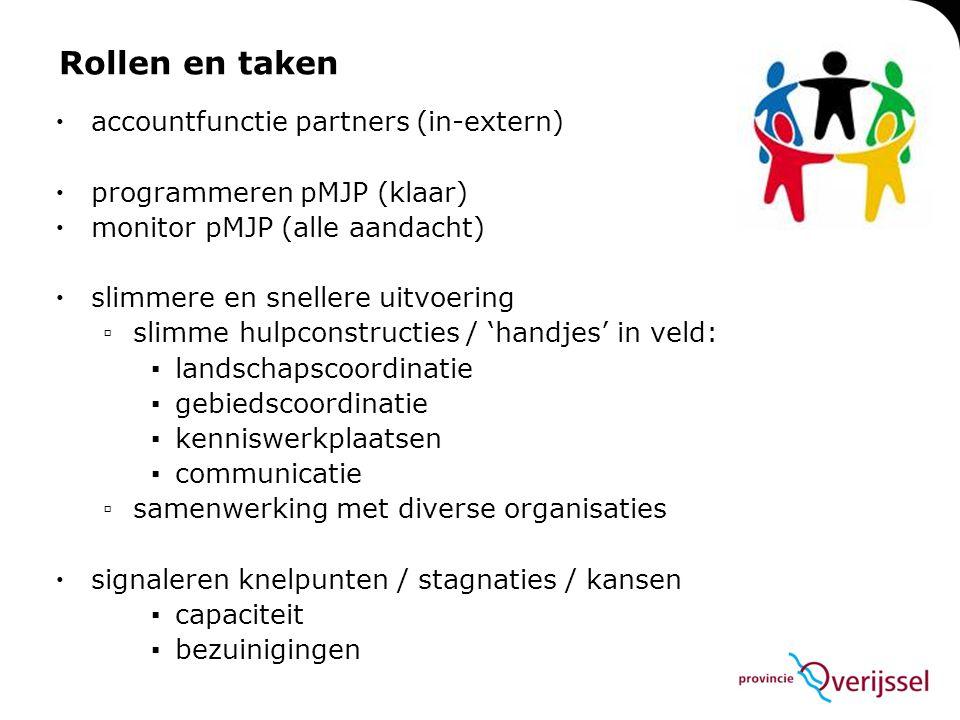 Rollen en taken  accountfunctie partners (in-extern)  programmeren pMJP (klaar)  monitor pMJP (alle aandacht)  slimmere en snellere uitvoering ▫sl