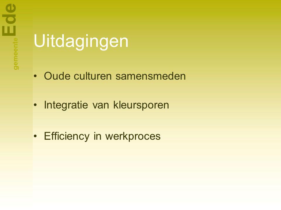 Ede gemeente Uitdagingen Oude culturen samensmeden Integratie van kleursporen Efficiency in werkproces