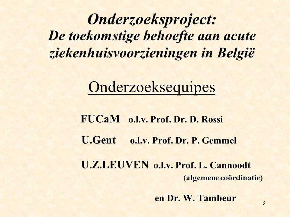 3 Onderzoeksproject: De toekomstige behoefte aan acute ziekenhuisvoorzieningen in België Onderzoeksequipes FUCaM o.l.v.