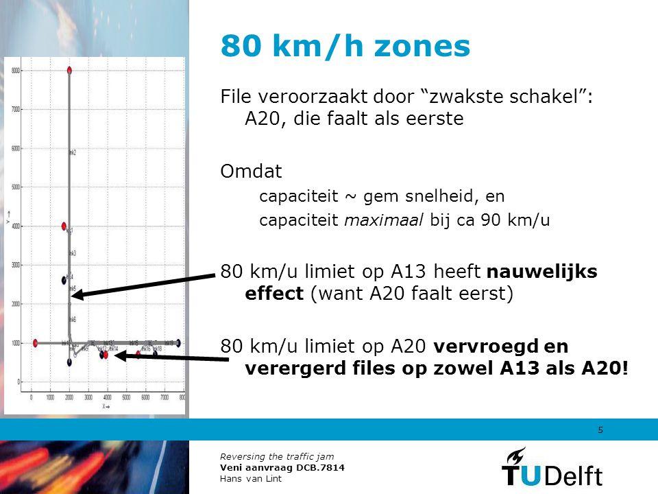 """Reversing the traffic jam Veni aanvraag DCB.7814 Hans van Lint 5 80 km/h zones File veroorzaakt door """"zwakste schakel"""": A20, die faalt als eerste Omda"""