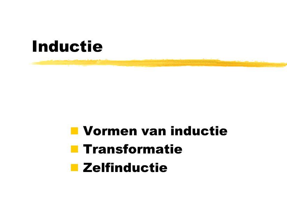 Inductie Vormen van inductie Transformatie Zelfinductie