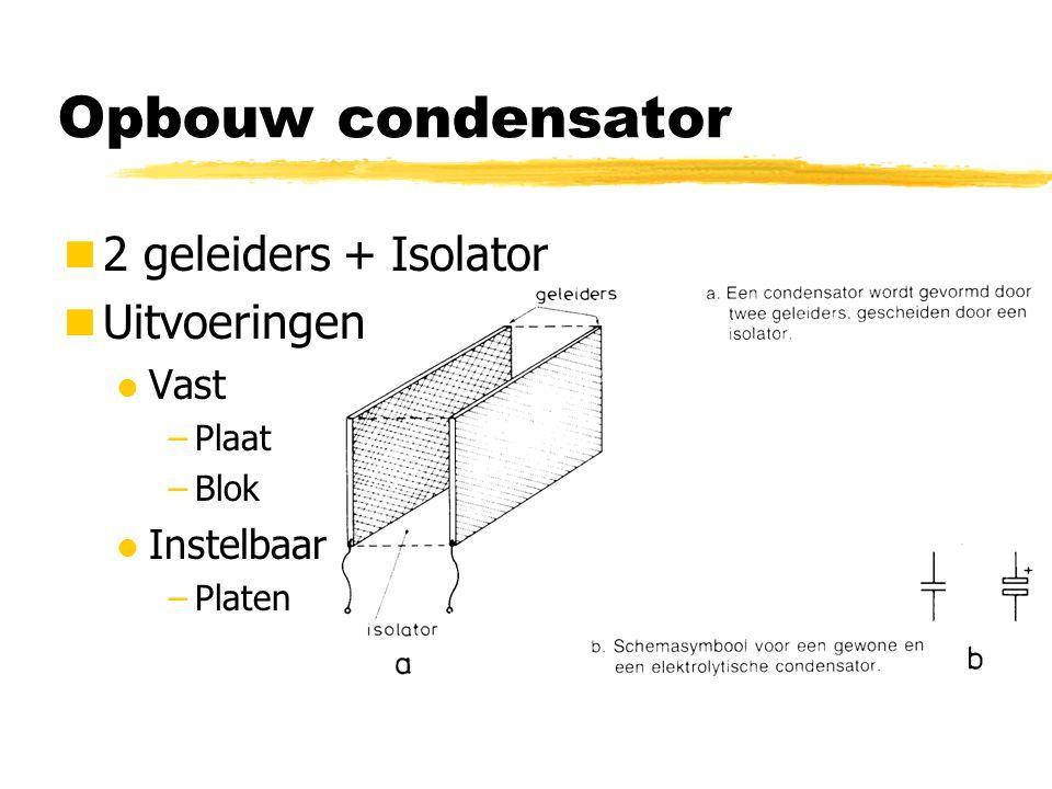 Opbouw condensator 2 geleiders + Isolator Uitvoeringen l Vast –Plaat –Blok l Instelbaar –Platen