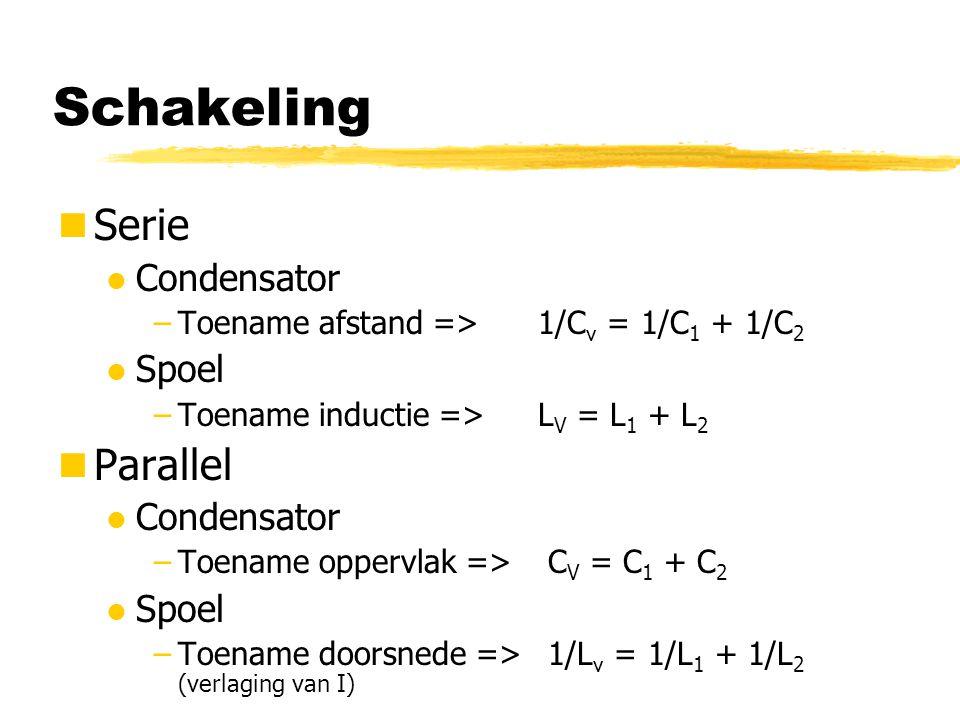 Schakeling Serie l Condensator –Toename afstand => 1/C v = 1/C 1 + 1/C 2 l Spoel –Toename inductie =>L V = L 1 + L 2 Parallel l Condensator –Toename o