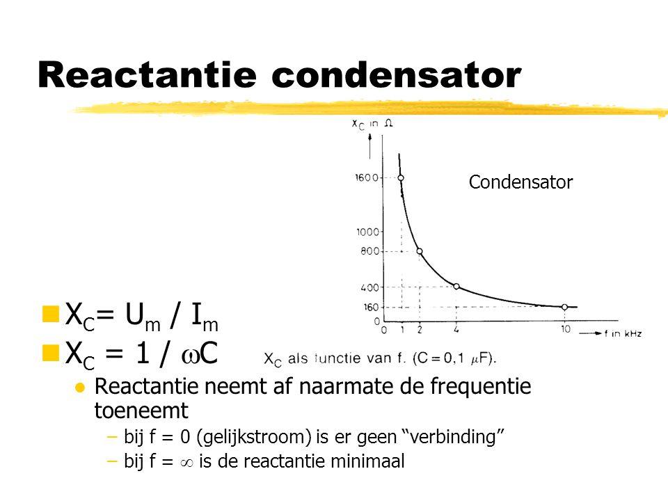 """Reactantie condensator X C = U m / I m X C = 1 /  C l Reactantie neemt af naarmate de frequentie toeneemt –bij f = 0 (gelijkstroom) is er geen """"verbi"""