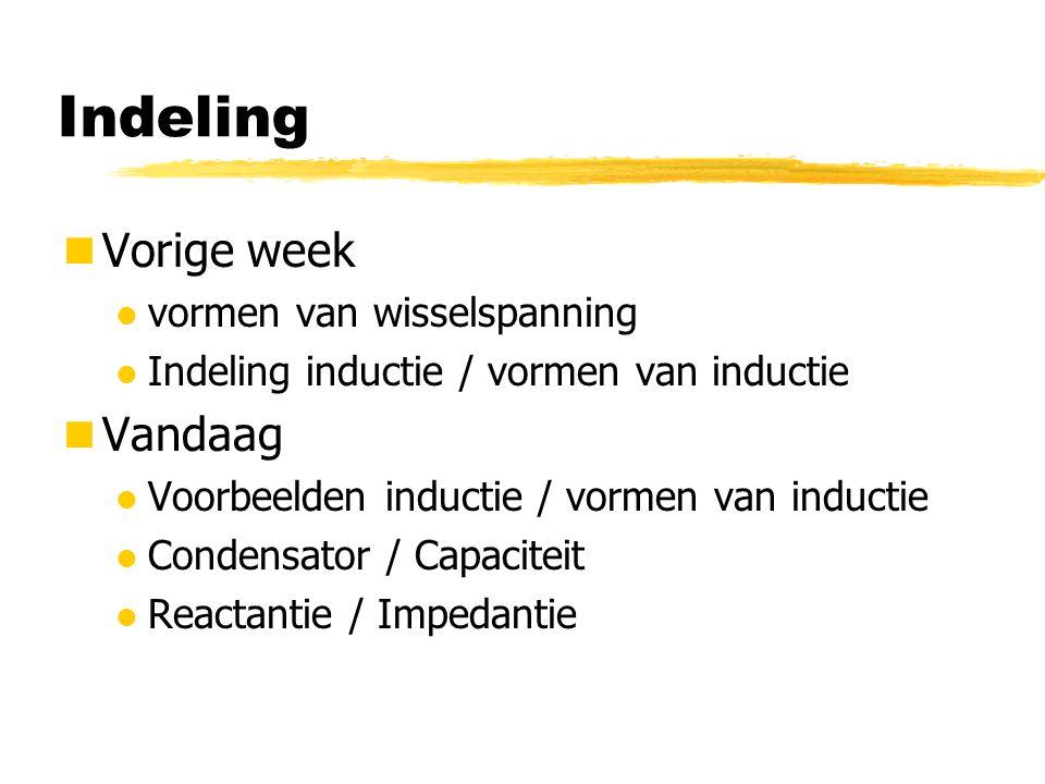 Indeling Vorige week l vormen van wisselspanning l Indeling inductie / vormen van inductie Vandaag l Voorbeelden inductie / vormen van inductie l Cond