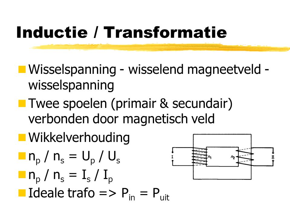 Impedantie / Admittantie Z = U max / I max l Z is de impedantie in Ohm (  ) Y = I max / U max = 1 / Z l Y is de Admittantie in 1/ 