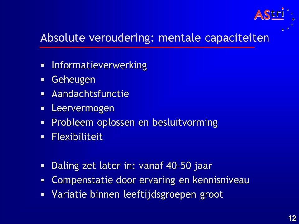 12 Absolute veroudering: mentale capaciteiten  Informatieverwerking  Geheugen  Aandachtsfunctie  Leervermogen  Probleem oplossen en besluitvormin