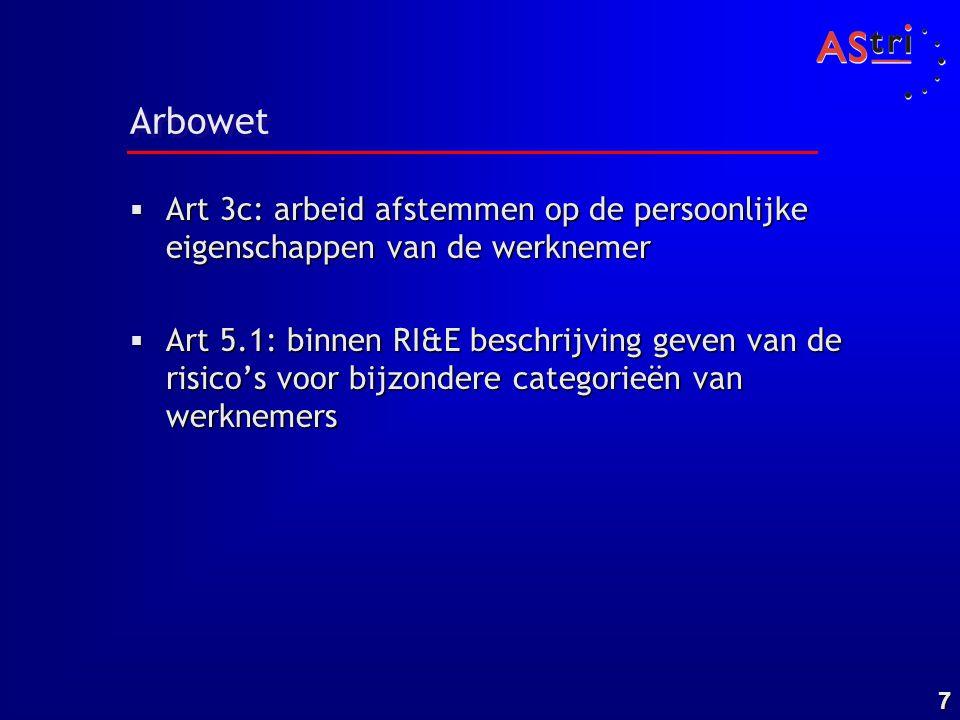 7 Arbowet  Art 3c: arbeid afstemmen op de persoonlijke eigenschappen van de werknemer  Art 5.1: binnen RI&E beschrijving geven van de risico's voor