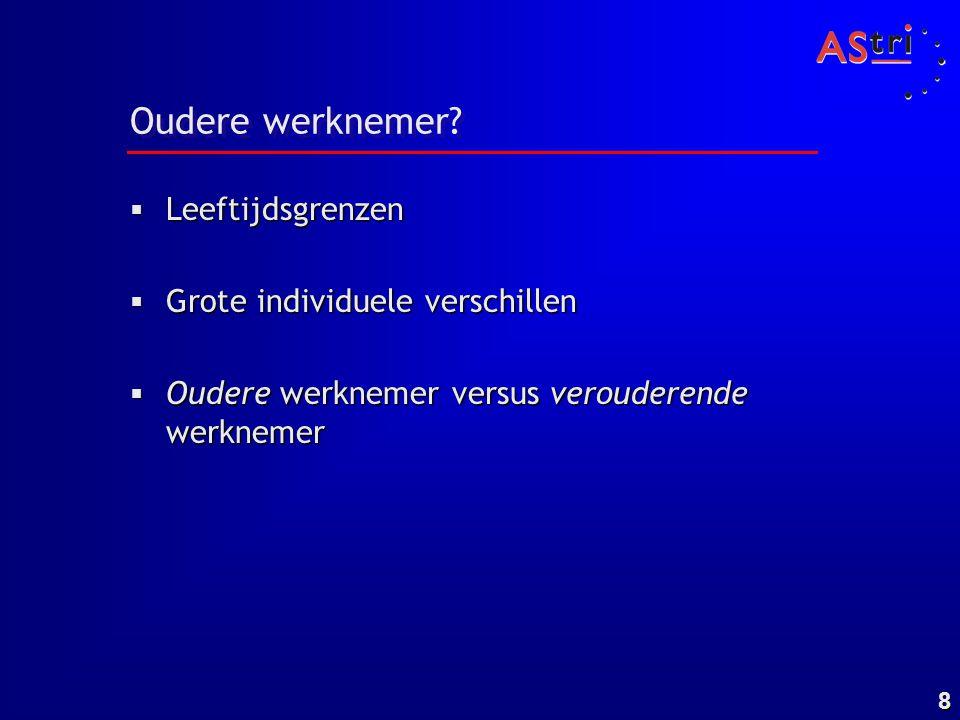 9 Interactiemodel werk en veroudering Biologische veroudering Ziekte Werk +/- Lifestyle +/- Ilmarinen 1992