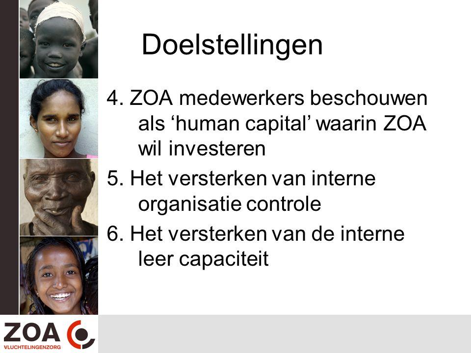 Doelstellingen 4. ZOA medewerkers beschouwen als 'human capital' waarin ZOA wil investeren 5. Het versterken van interne organisatie controle 6. Het v