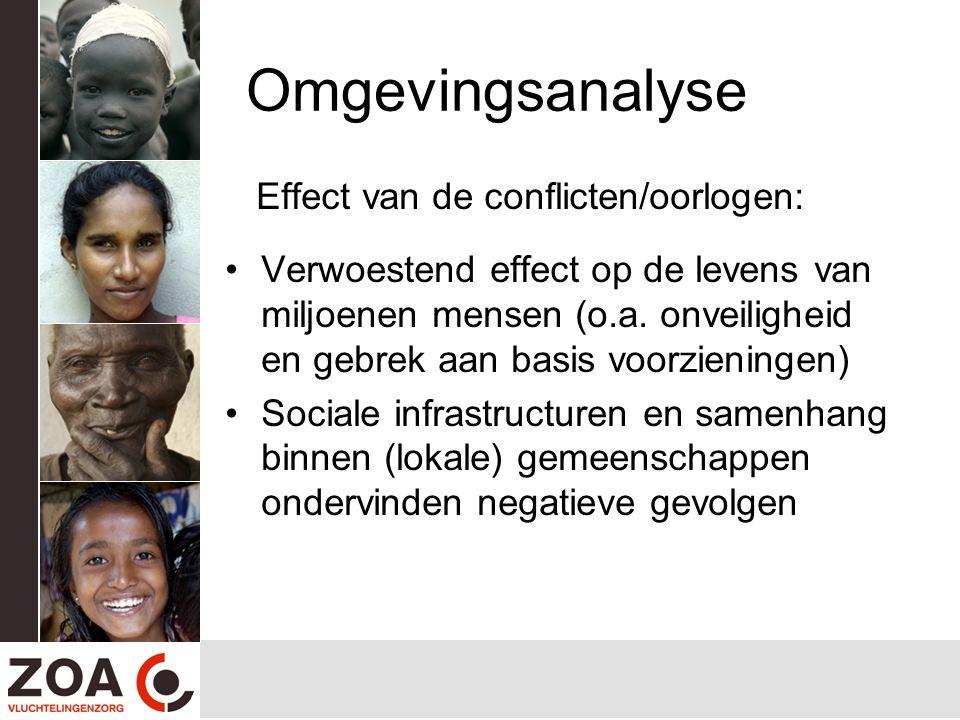 Omgevingsanalyse Effect van de conflicten/oorlogen: Verwoestend effect op de levens van miljoenen mensen (o.a. onveiligheid en gebrek aan basis voorzi