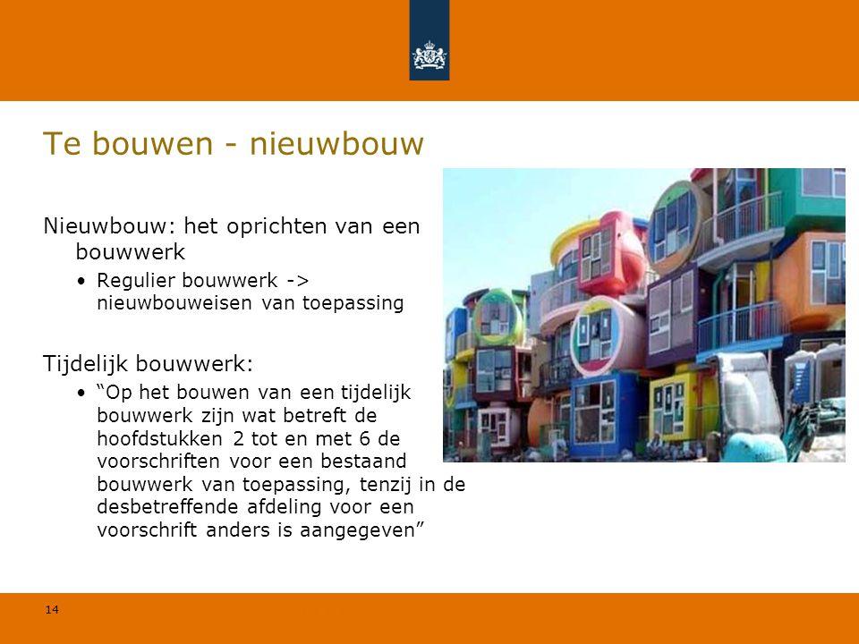 14 © Geregeld BV Te bouwen - nieuwbouw Nieuwbouw: het oprichten van een bouwwerk Regulier bouwwerk -> nieuwbouweisen van toepassing Tijdelijk bouwwerk