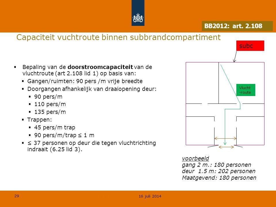29 © Geregeld BV Capaciteit vuchtroute binnen subbrandcompartiment  Bepaling van de doorstroomcapaciteit van de vluchtroute (art 2.108 lid 1) op basi