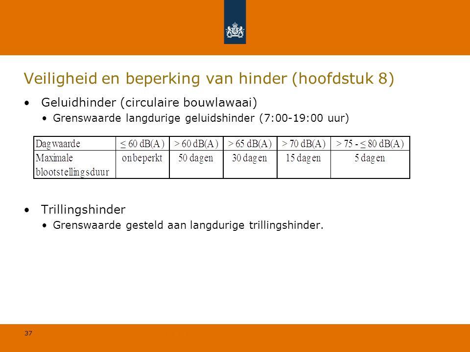 37 © Geregeld BV Veiligheid en beperking van hinder (hoofdstuk 8) Geluidhinder (circulaire bouwlawaai) Grenswaarde langdurige geluidshinder (7:00-19:0