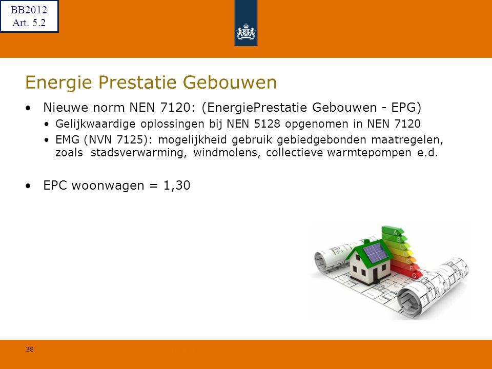 38 © Geregeld BV Energie Prestatie Gebouwen Nieuwe norm NEN 7120: (EnergiePrestatie Gebouwen - EPG) Gelijkwaardige oplossingen bij NEN 5128 opgenomen