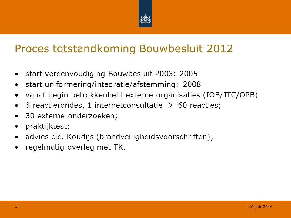5 © Geregeld BV Proces totstandkoming Bouwbesluit 2012 start vereenvoudiging Bouwbesluit 2003: 2005 start uniformering/integratie/afstemming: 2008 van