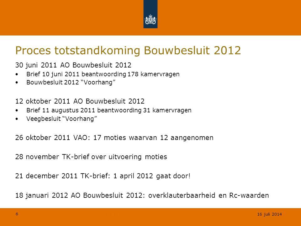 6 © Geregeld BV Proces totstandkoming Bouwbesluit 2012 30 juni 2011 AO Bouwbesluit 2012 Brief 10 juni 2011 beantwoording 178 kamervragen Bouwbesluit 2