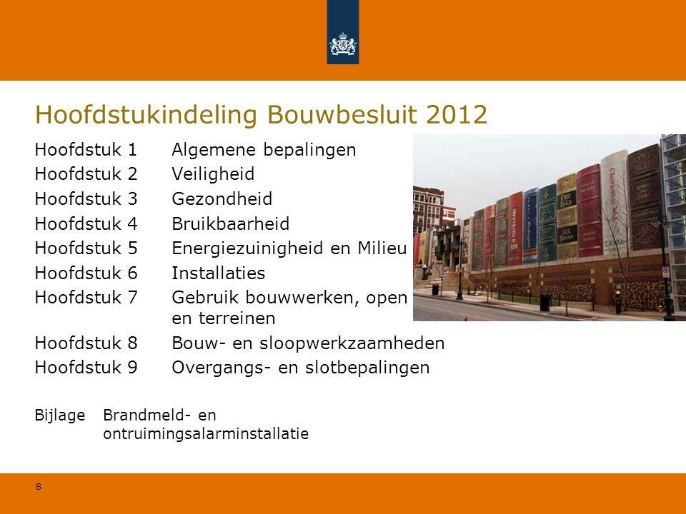 8 © Geregeld BV Hoofdstukindeling Bouwbesluit 2012 Hoofdstuk 1Algemene bepalingen Hoofdstuk 2Veiligheid Hoofdstuk 3Gezondheid Hoofdstuk 4Bruikbaarheid