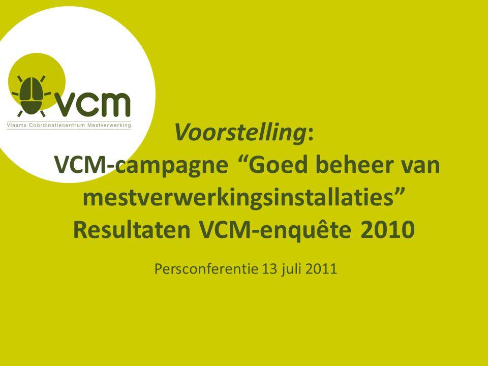 Voorstelling: VCM-campagne Goed beheer van mestverwerkingsinstallaties Resultaten VCM-enquête 2010 Persconferentie 13 juli 2011