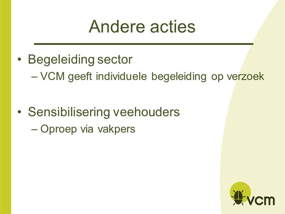 Andere acties Begeleiding sector –VCM geeft individuele begeleiding op verzoek Sensibilisering veehouders –Oproep via vakpers