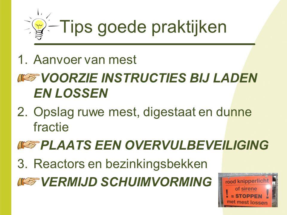 Tips goede praktijken 1.Aanvoer van mest VOORZIE INSTRUCTIES BIJ LADEN EN LOSSEN 2.Opslag ruwe mest, digestaat en dunne fractie PLAATS EEN OVERVULBEVE