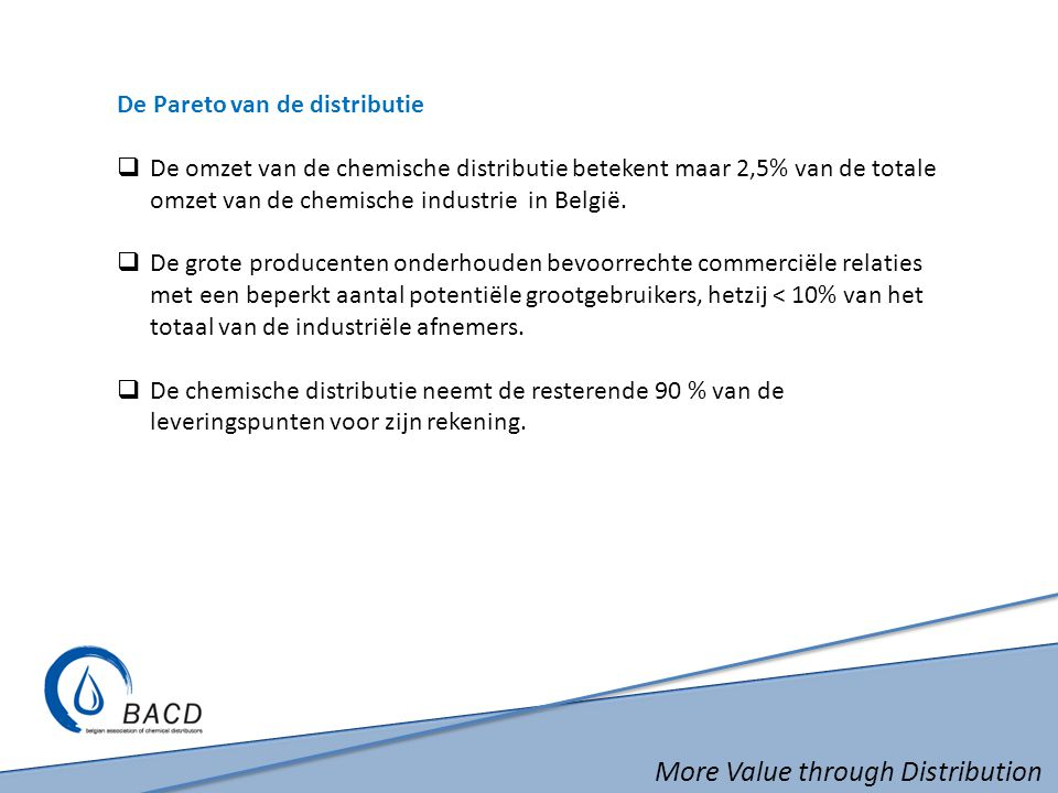 More Value through Distribution De Pareto van de distributie  De omzet van de chemische distributie betekent maar 2,5% van de totale omzet van de che