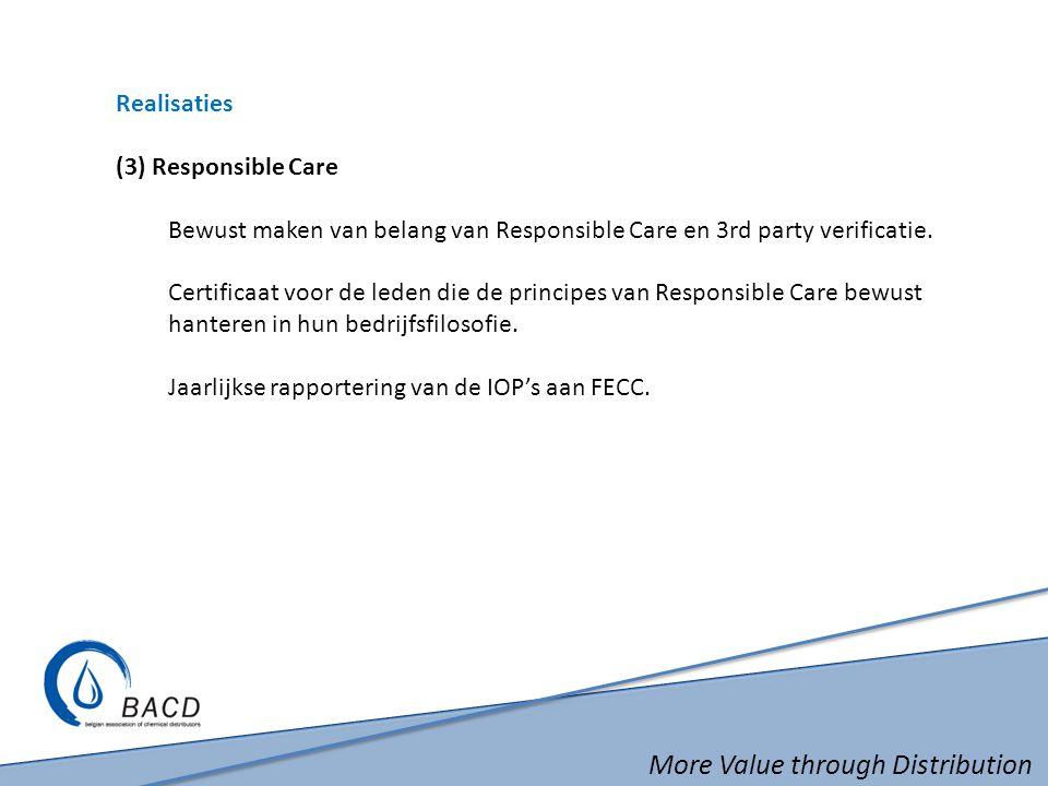 More Value through Distribution Realisaties (3) Responsible Care Bewust maken van belang van Responsible Care en 3rd party verificatie. Certificaat vo