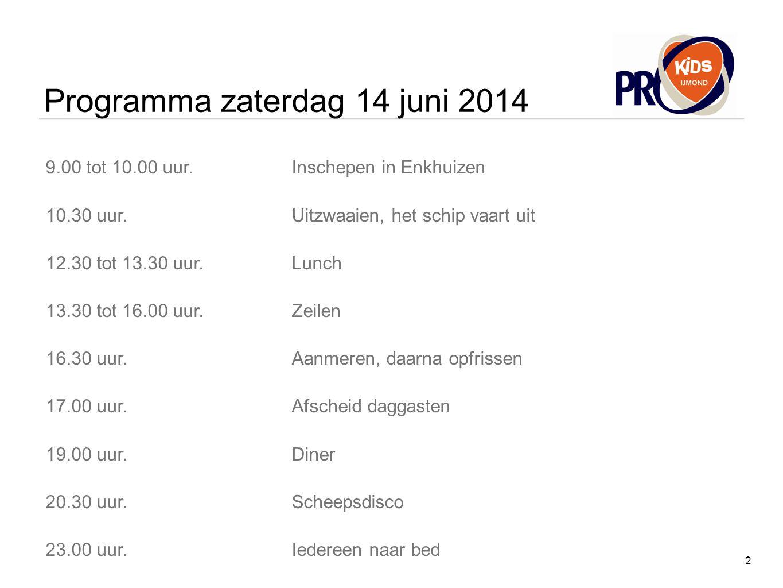 Programma zaterdag 14 juni 2014 9.00 tot 10.00 uur.Inschepen in Enkhuizen 10.30 uur.Uitzwaaien, het schip vaart uit 12.30 tot 13.30 uur.Lunch 13.30 to