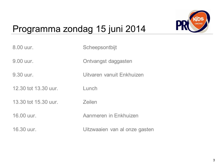 Programma zondag 15 juni 2014 8.00 uur.Scheepsontbijt 9.00 uur.Ontvangst daggasten 9.30 uur.Uitvaren vanuit Enkhuizen 12.30 tot 13.30 uur.Lunch 13.30