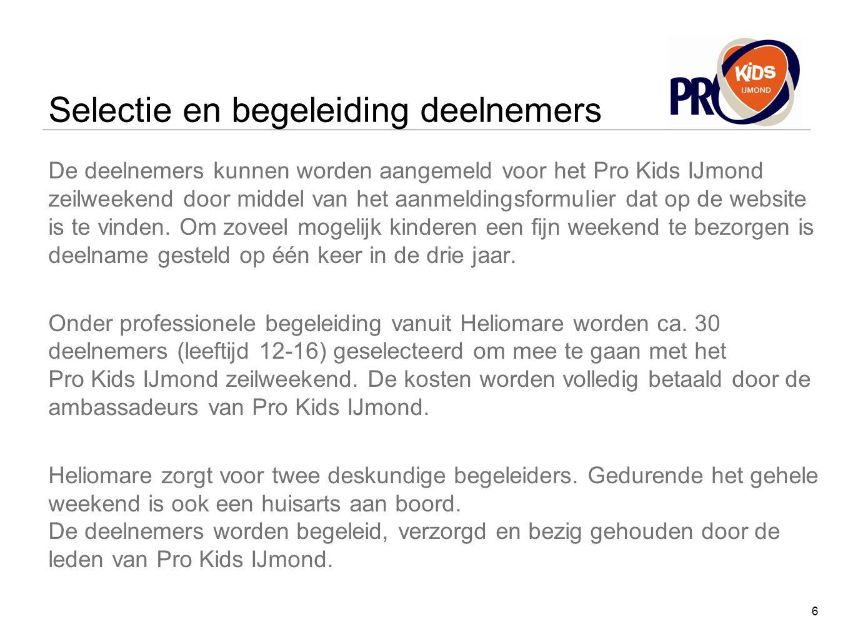 Selectie en begeleiding deelnemers De deelnemers kunnen worden aangemeld voor het Pro Kids IJmond zeilweekend door middel van het aanmeldingsformulier