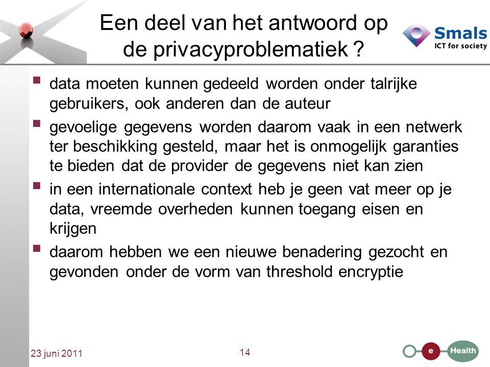 14 23 juni 2011 Een deel van het antwoord op de privacyproblematiek .