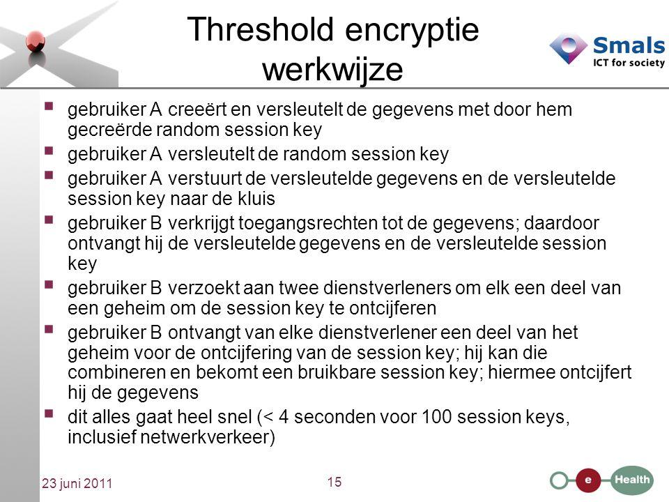 15 23 juni 2011 Threshold encryptie werkwijze  gebruiker A creeërt en versleutelt de gegevens met door hem gecreërde random session key  gebruiker A