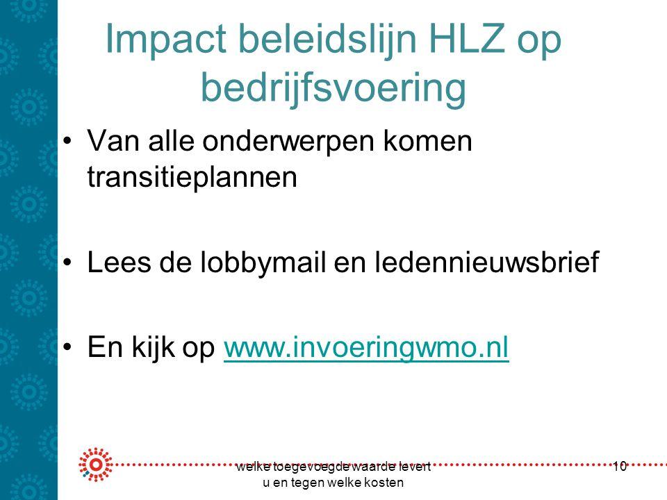Impact beleidslijn HLZ op bedrijfsvoering Van alle onderwerpen komen transitieplannen Lees de lobbymail en ledennieuwsbrief En kijk op www.invoeringwm